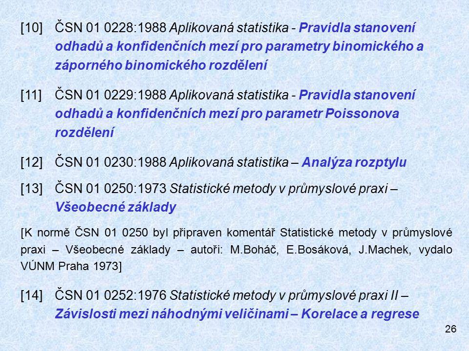 [12] ČSN 01 0230:1988 Aplikovaná statistika – Analýza rozptylu